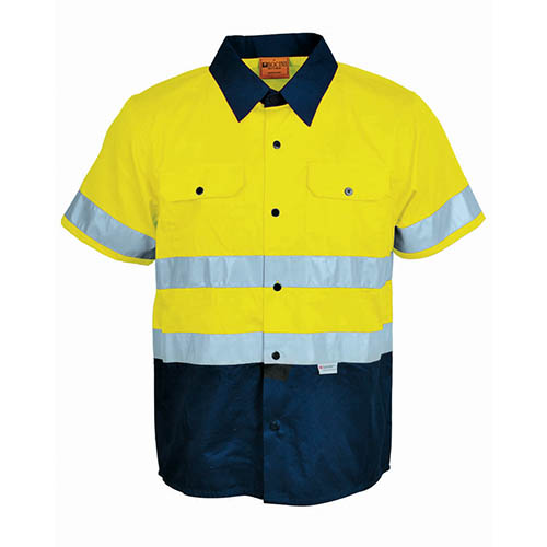Hi vis s s cotton drill shirt with reflective tape for Hi vis shirts with reflective tape
